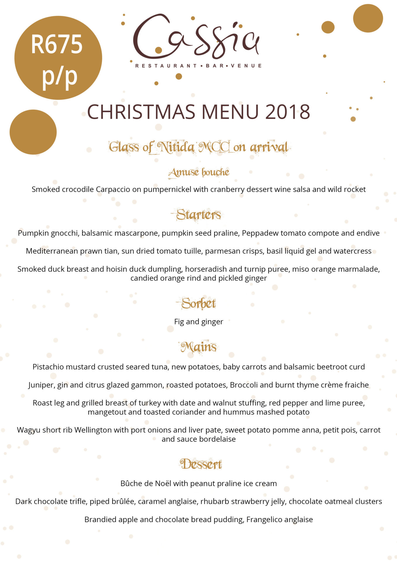 Christmas at Cassia Restaurant Durbanville
