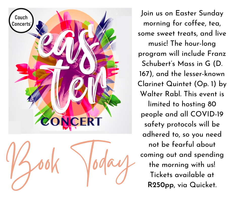 Join us on Easter Sunday morning for coffee, tea, some sweet treats, and live music! The hour-long program will include Franz Schubert's Mass in G (D. 167), and the lesser known Clarinet Quintet (Op. 1) by Walt